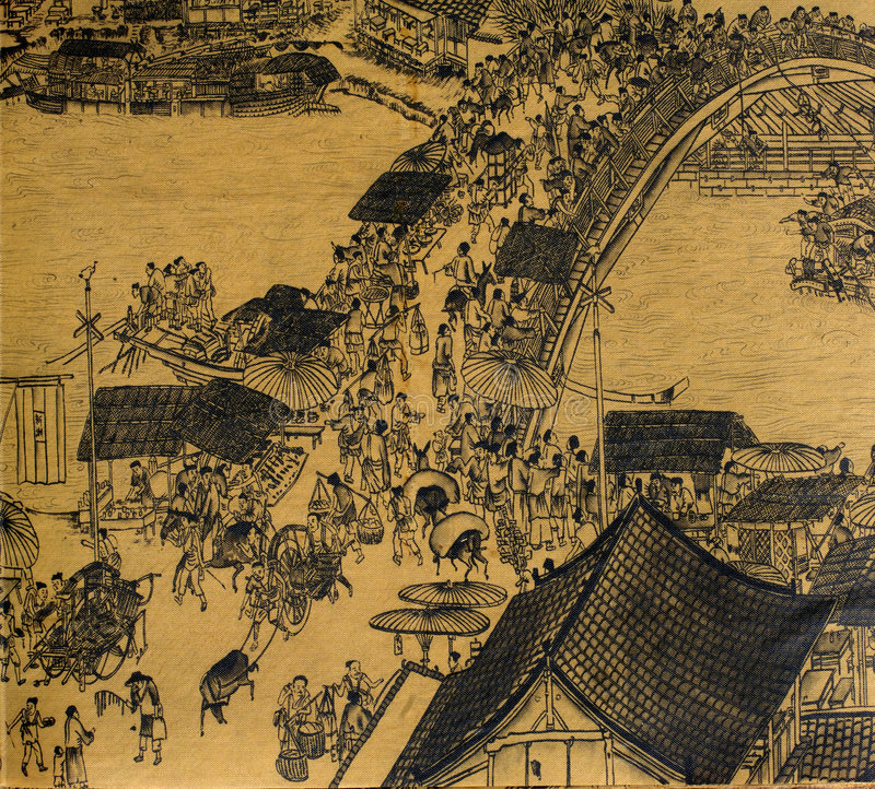 Download Antique Chinese Silk Painting Stock Illustration - Illustration: 4803487