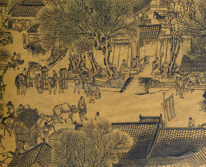 Antique Chinese Silk Painting. In the style of the song and yuan dynasties; nature, landscapes and countryside landscapes with hills; mountains; rivers and royalty free illustration