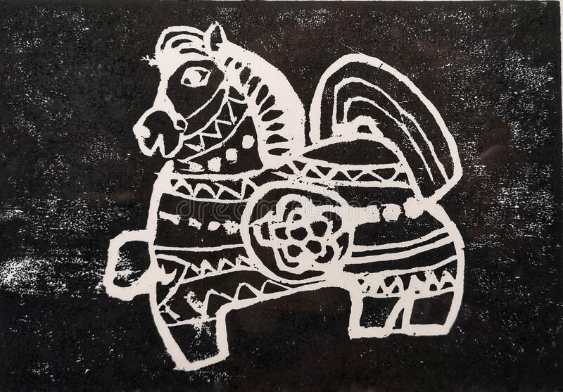 Antique Chinese wood block horse art stock images