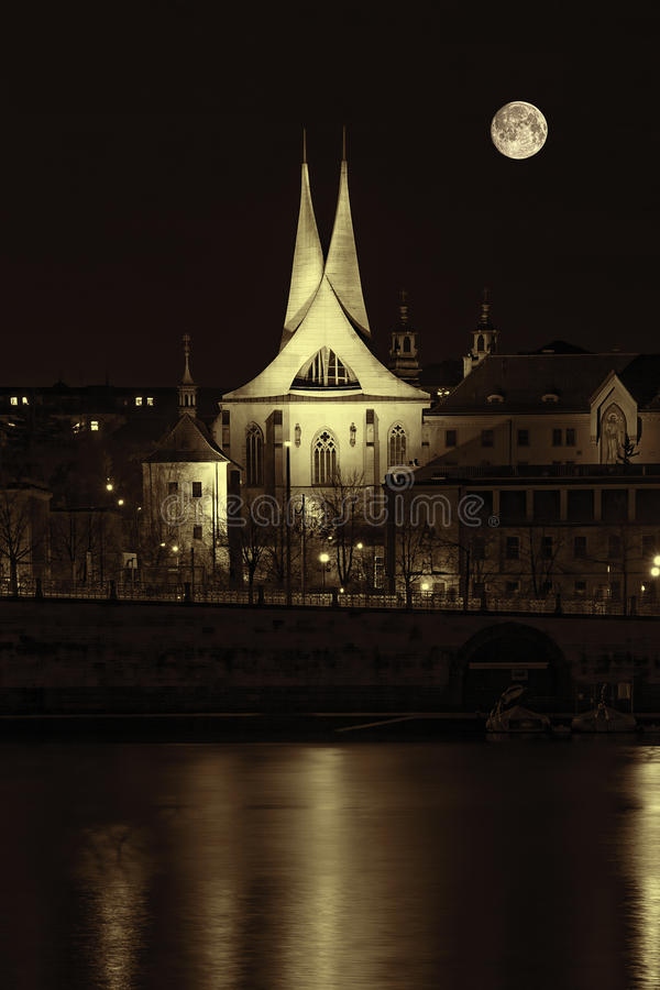 Antique City of Prague at Night stock images
