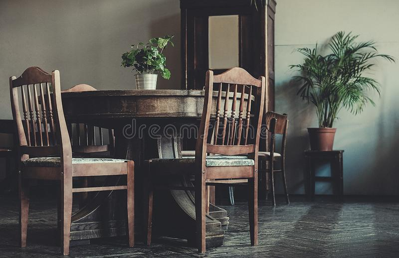 Antique classic interior, chairs, table - soft daylight. Style for fashion royalty free stock photo