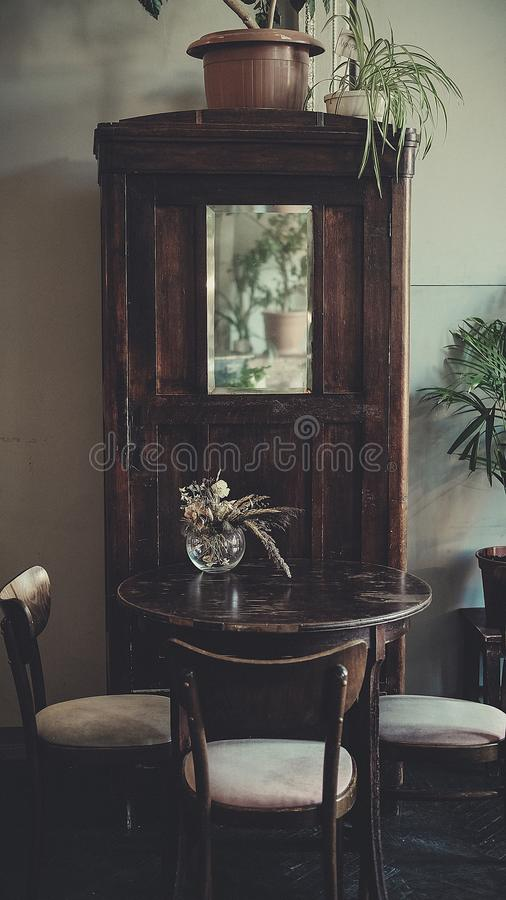 Antique classic interior, chairs, table - soft daylight. Style for fashion stock photography