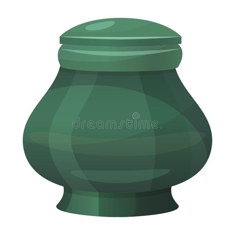 Antique classic urn icon, vintage green amphora stock illustration
