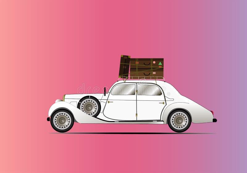 Vintage car pink stock illustration