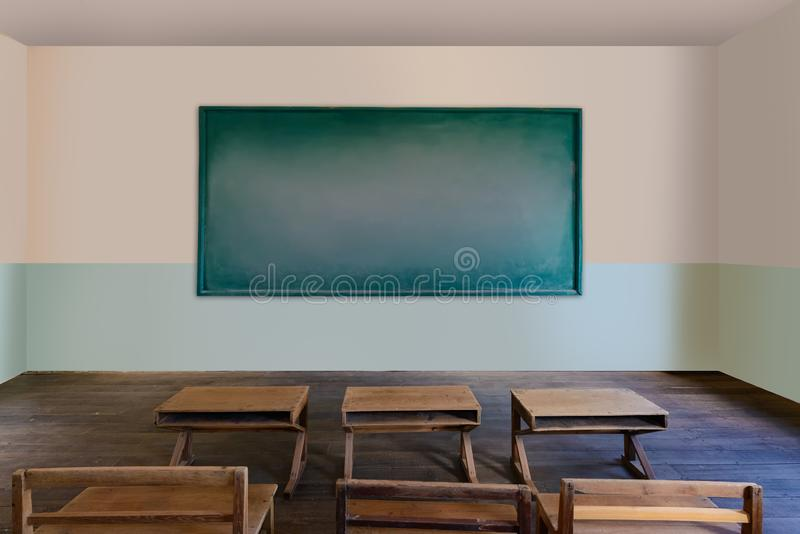 Antique classroom in school with Rows of empty wooden desks. Wooden chair and benches,study desk and chair, blackboard stock photos