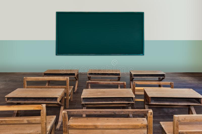 Antique classroom in school with Rows of empty wooden desks. Wooden chair and benches,study desk and chair, blackboard royalty free stock photography
