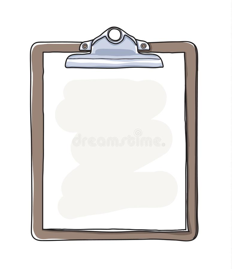 Antique clipboard and blank paper hand drawn vector art illustration.  stock illustration