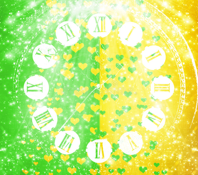 Antique clock face on abstract multicolored background with blur royalty free illustration