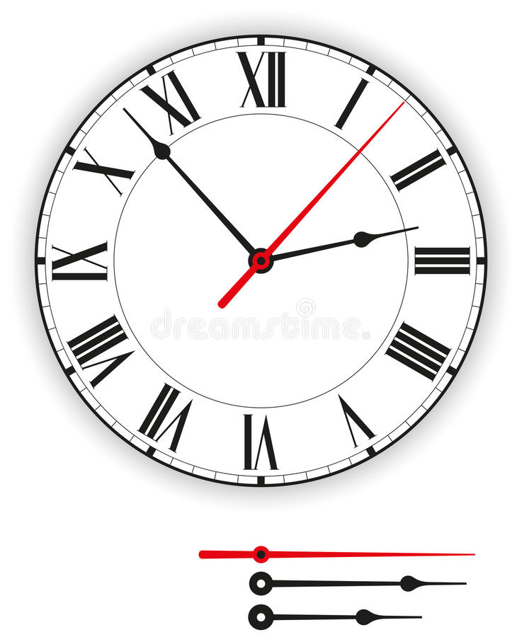 Antique Clock Face. Illustration of a antique clock face (dial) as part of an analog clock (watch) with black and red pointers. Isolated on white background royalty free illustration