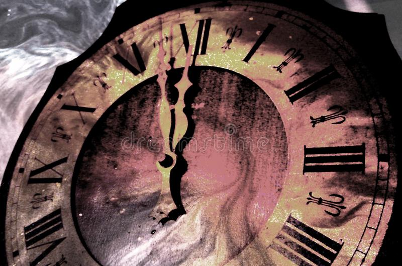 Antique clock striking midnight. Abstract photo of antique clock striking midnight with time flow effect royalty free stock image