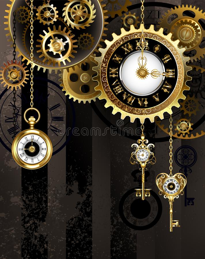 Free Antique Clock With Gold Keys Stock Photography - 150475102
