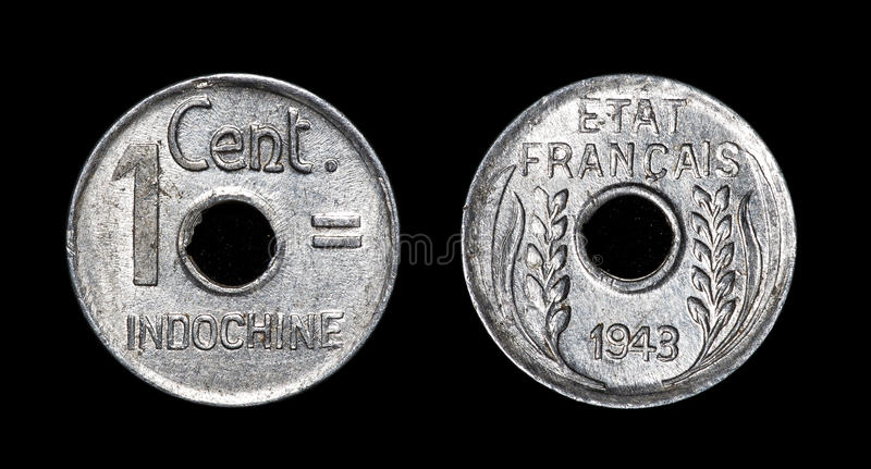 Antique coin of 1 centimes. Antique coin isolated on black macro view stock images