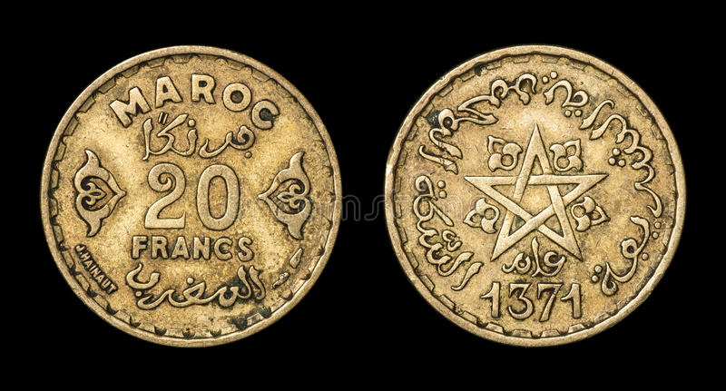 Antique coin of 20 francs. Antique coin isolated on black macro view stock images
