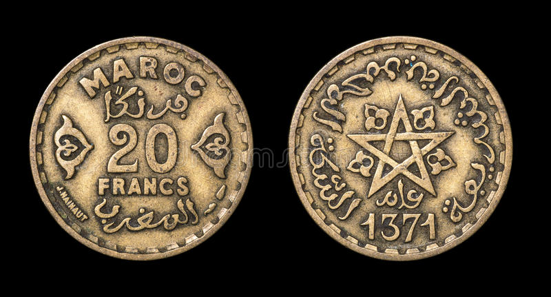 Antique coin of 20 francs. Antique coin isolated on black macro view royalty free stock images