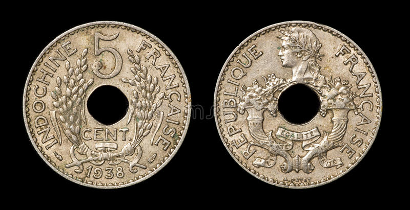 Antique coin of 5 centimes. Antique coin isolated on black macro view stock images