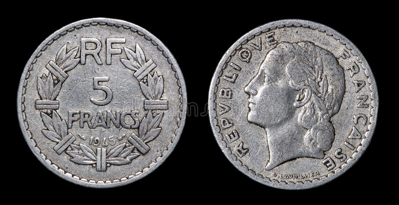 Antique coin of 5 francs. Antique coin isolated on black macro view royalty free stock photos