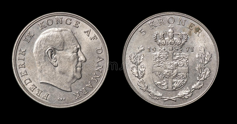 Antique coin of 5 kroner. Antique coin isolated on black macro view stock photography