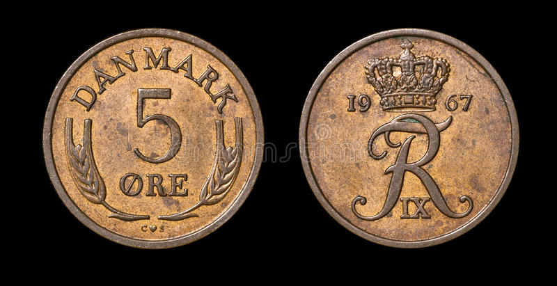 Antique coin of 5 ore. Antique coin isolated on black macro view stock images