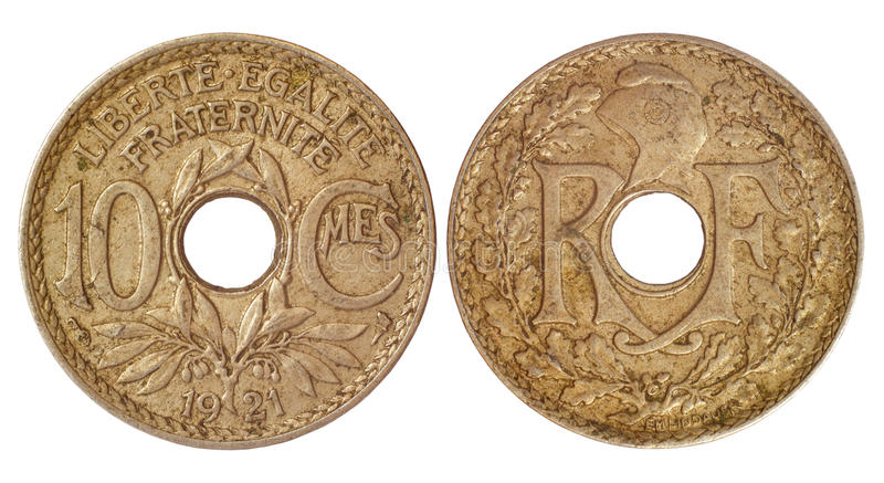 Antique coin of france. Antique rare coin of france isolated on white background stock image