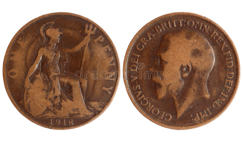 Antique coin of great britain 1918 year. Antique coin of great britain, penny of 1918 year isolated on white bacground stock photos