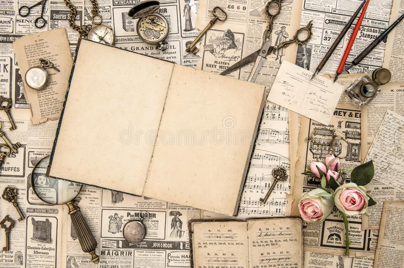Antique collectible goods books postcards news paper stock images