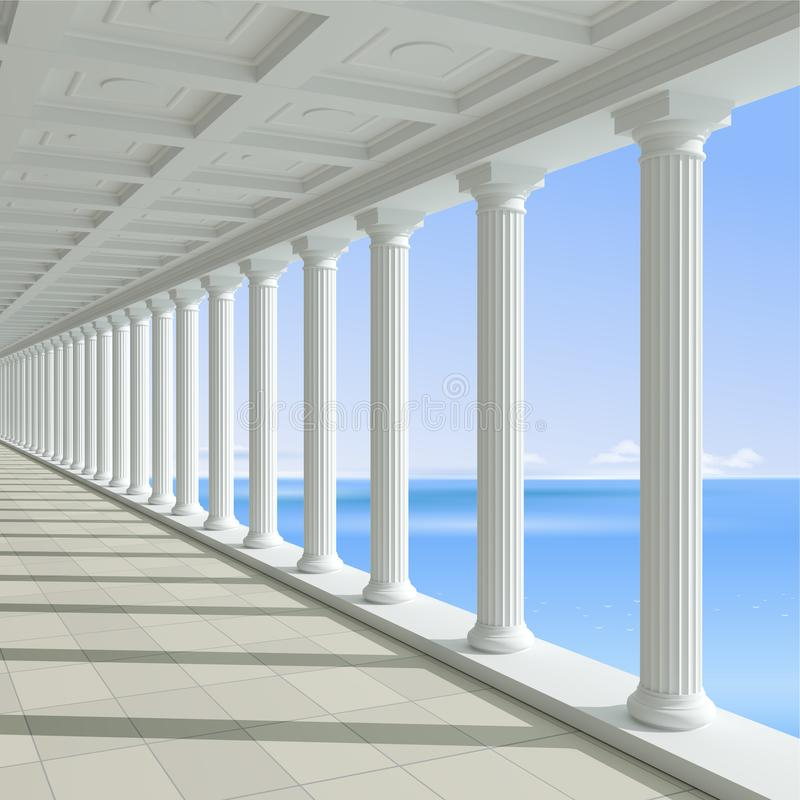 Antique colonnade on a background of blue sea. 3d illustration. Antique colonnade on a background of blue sea. Hotel or Palace. Classic architecture vector illustration