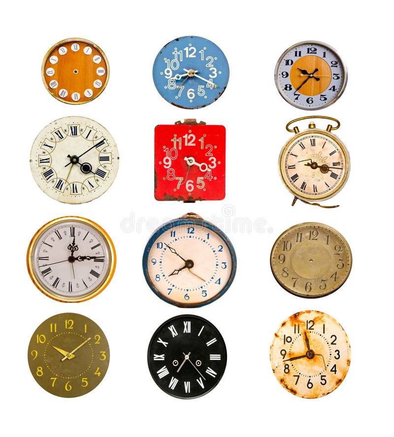 Antique colorful clock dial collection on white. Antique colorful clock dial collection isolated on white royalty free stock images