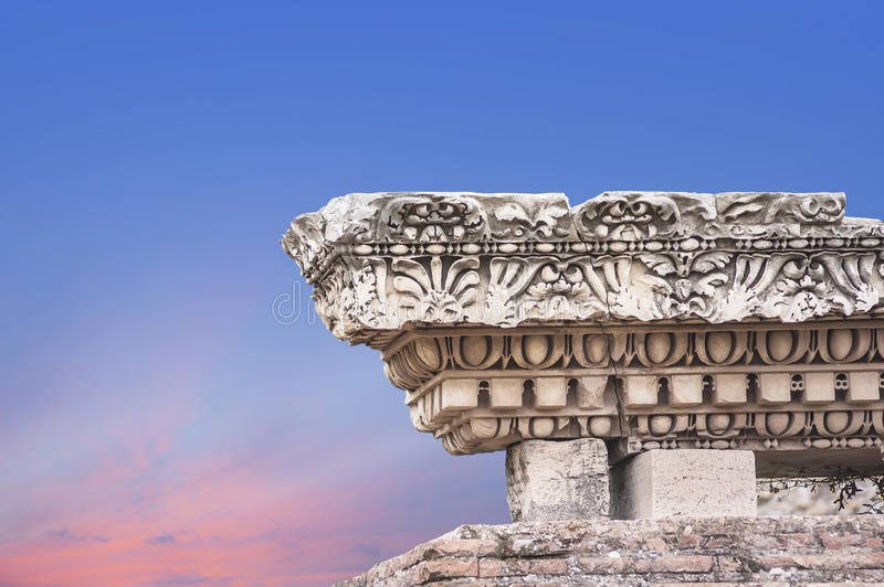 Download Antique Column On The Background Of Dawn Sky Stock Image - Image of ruins, past: 36474317
