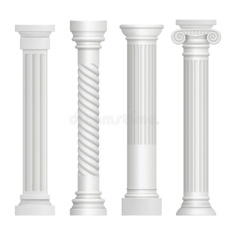 Antique column. Historical greek pillars ancient building architecture art sculpture vector realistic pictures royalty free illustration