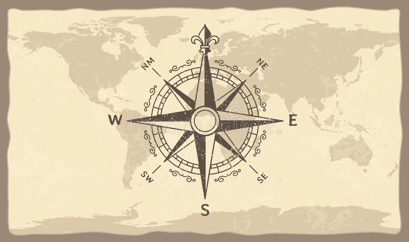 Antique compass on world map. Vintage geographic history maps with marine compasses arrows vector illustration vector illustration