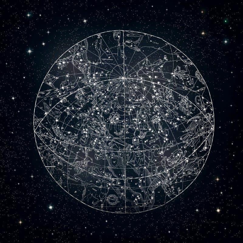 Antique constellation sky-kaart stock fotografie