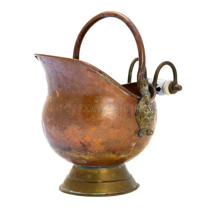 Antique copper jar. Isolated image stock images