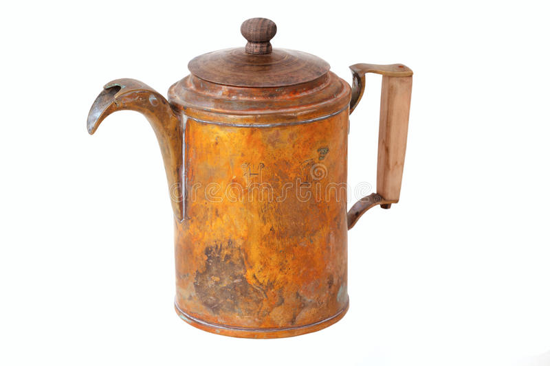 Antique copper. Kettle isolated on white royalty free stock images