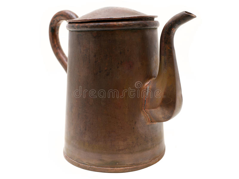 Antique copper kettle isolated on white. Background stock image