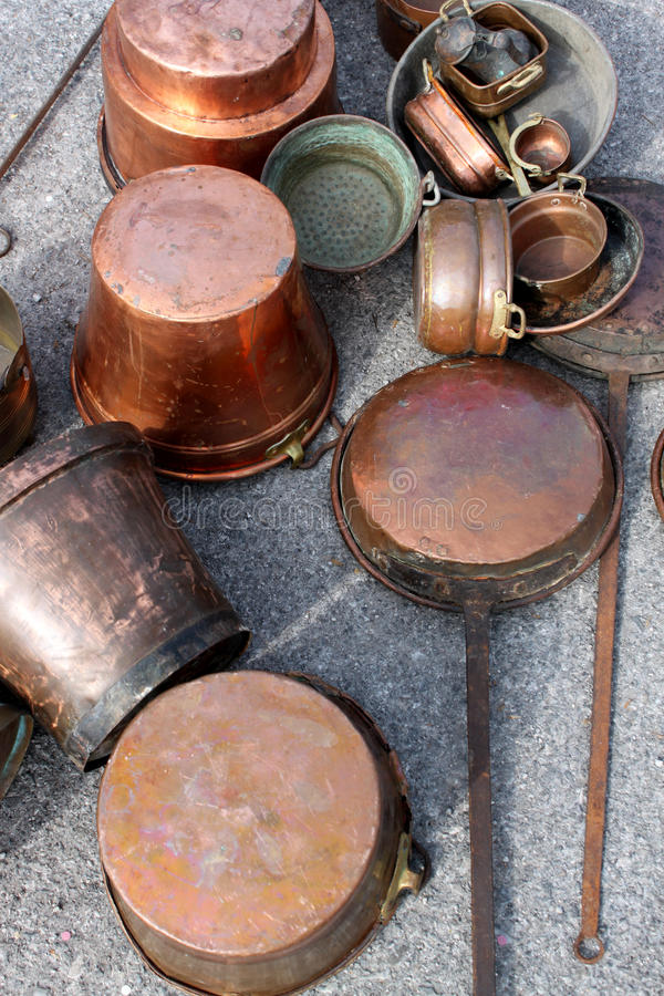Download Antique Copper Pots stock photo. Image of beating, sale - 22510058