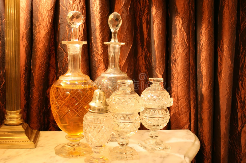 Antique crystal decanters royalty free stock photos
