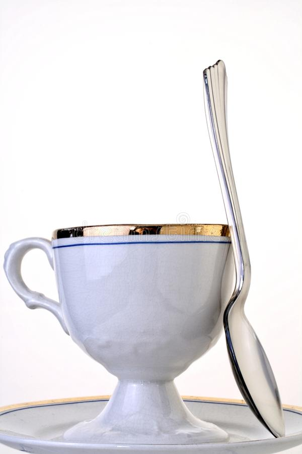 Antique Cup,Saucer And Spoon Stock Photography