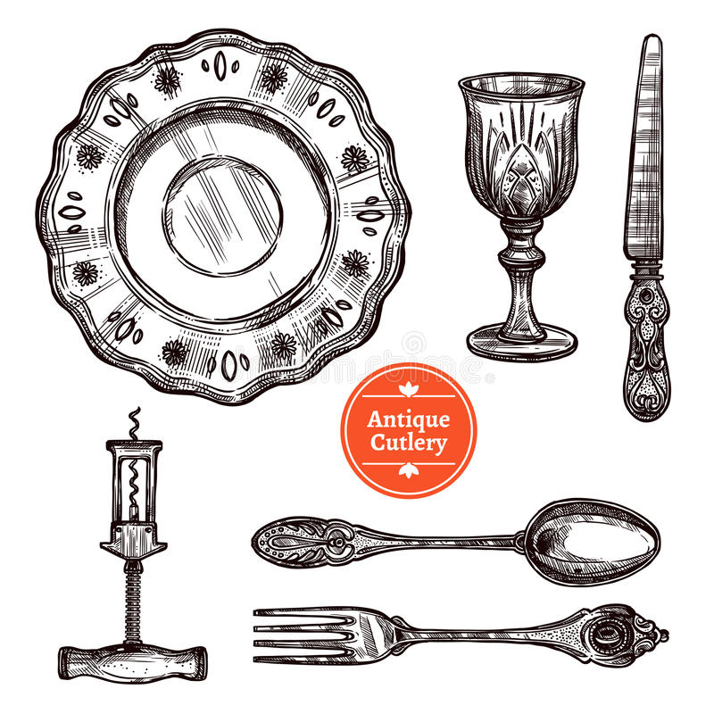 Free Antique Cutlery Set Stock Photography - 73546582