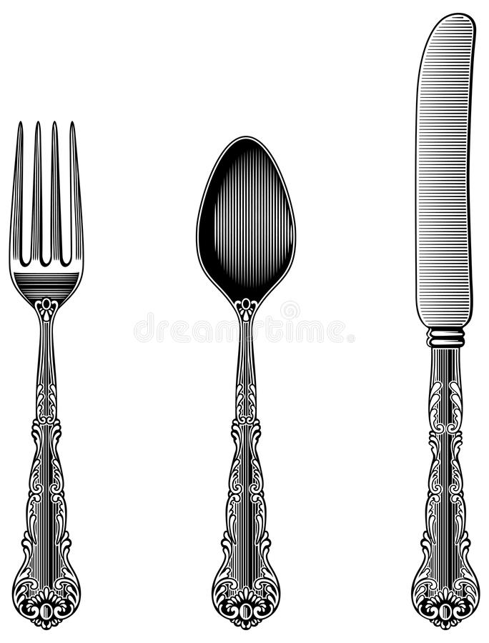 Download Antique Cutlery stock vector. Illustration of spoon image - 40187298  sc 1 st  Dreamstime.com : vintage style tableware - pezcame.com