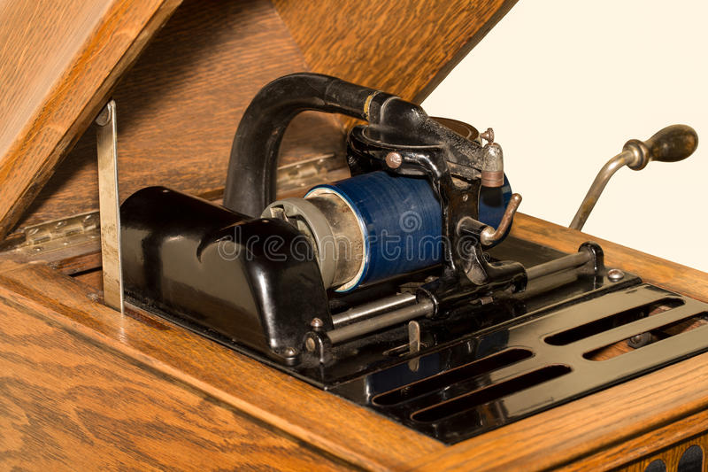 Antique Cylinder Phonograph Detail stock image