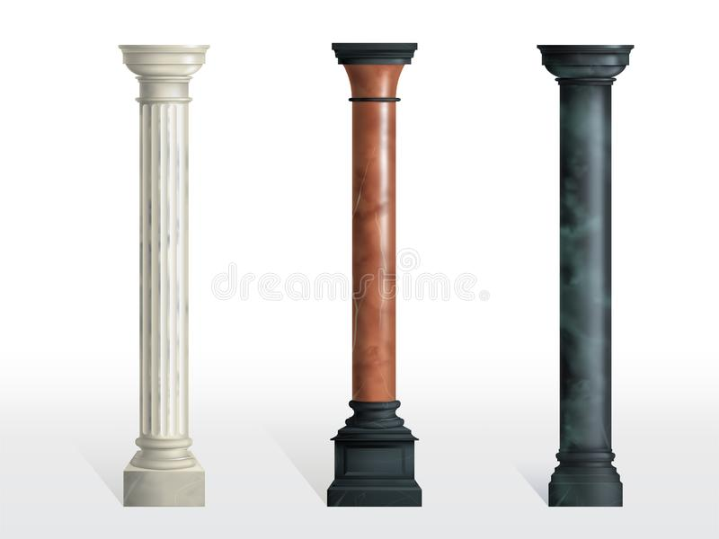 Ancient columns of colored marble realistic vector stock illustration