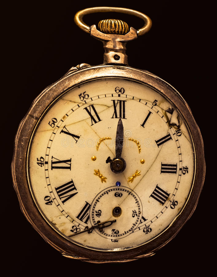 Antique decayed pocket watch isolated royalty free stock photos