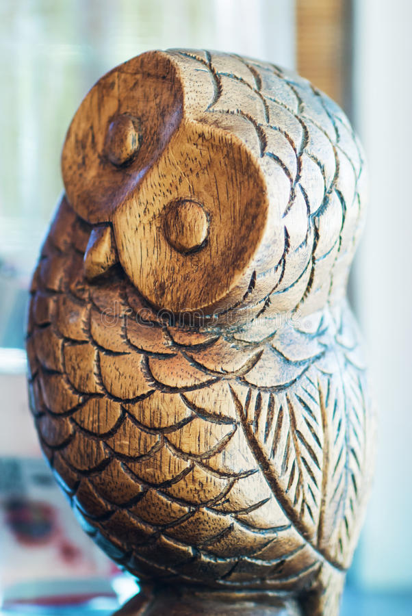 Antique Decorative Duck Decoy. Owl bird royalty free stock photo