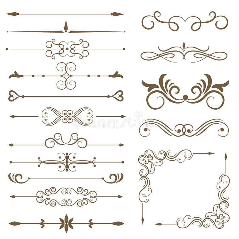 Antique decorative elements, and scroll elements, set page dividers. Vector illustration royalty free illustration