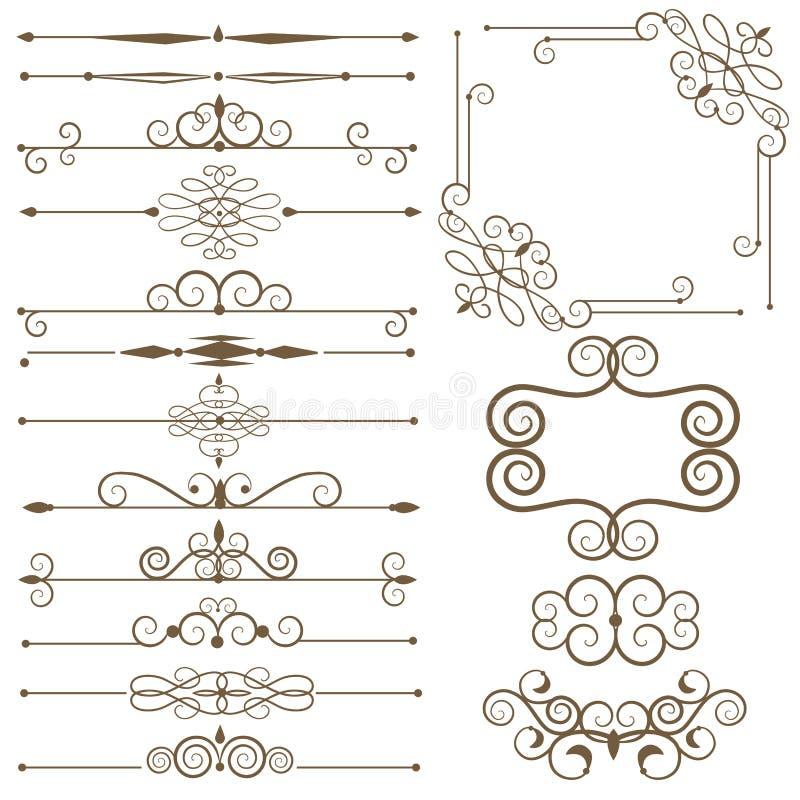 Antique decorative elements, set page dividers. Antique decorative elements, and scroll elements, set page dividers vector illustration