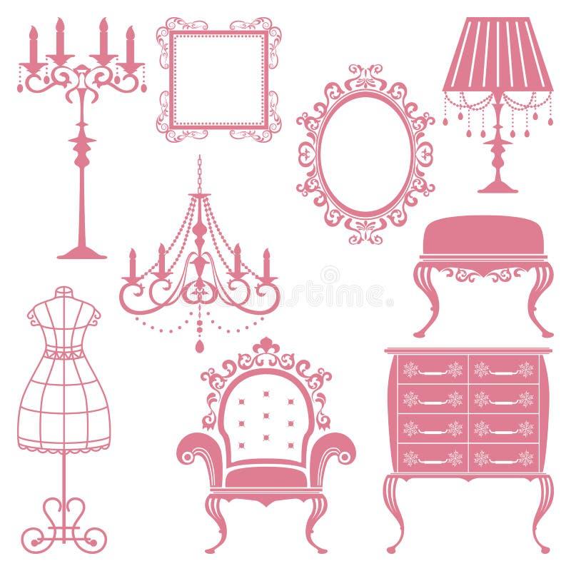Antique design element set royalty free illustration