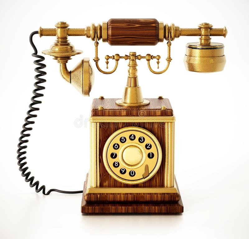 Antique dial phone isolated on white background. 3D illustration.  royalty free illustration