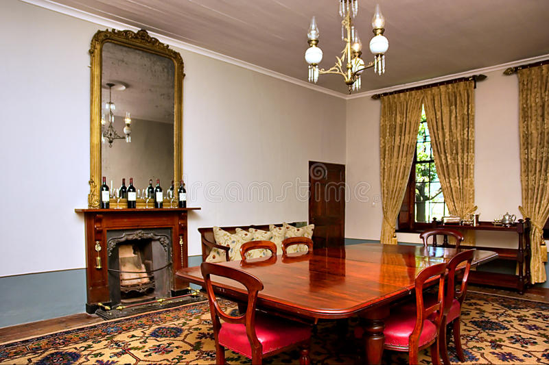 Antique dining room stock photo