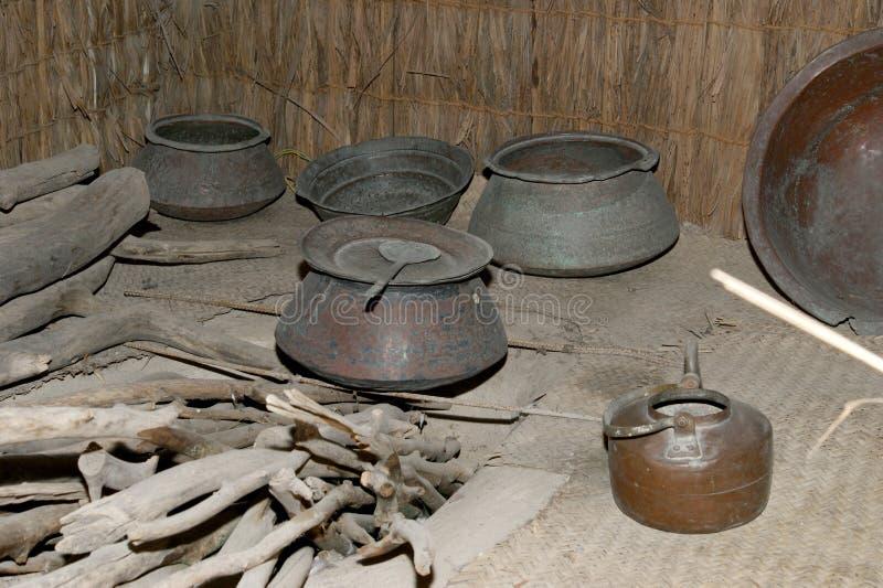 Antique dishes Bedouin, Dubai museum, United Arab Emirates,UAE.  royalty free stock photos