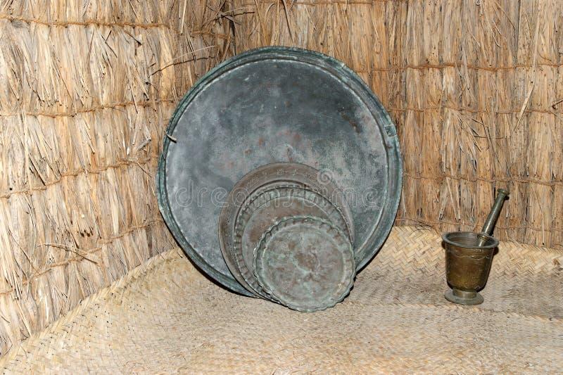 Antique dishes Bedouin, Dubai museum, United Arab Emirates,UAE.  stock image